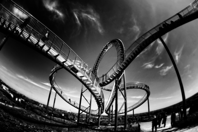 Rollercoaster black and white